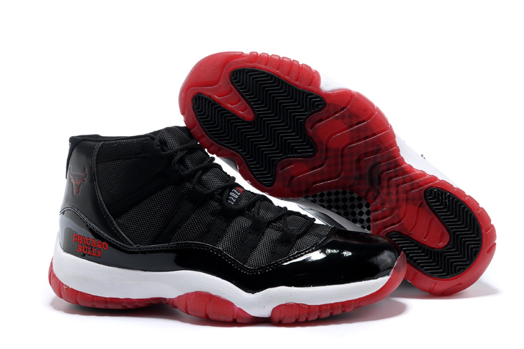 Original Air Jordan 11 Black White Red Shoes