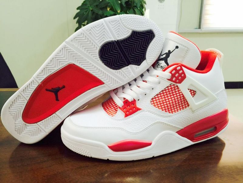 New Air Jordan 4 Alternate 89 Melo Shoes White Red