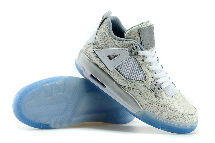 New Air Jordan 4 Laser Shoes White Gold Blue
