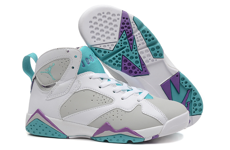 2015 Painted Eggshell Air Jordan 7 White Grey Green For Women