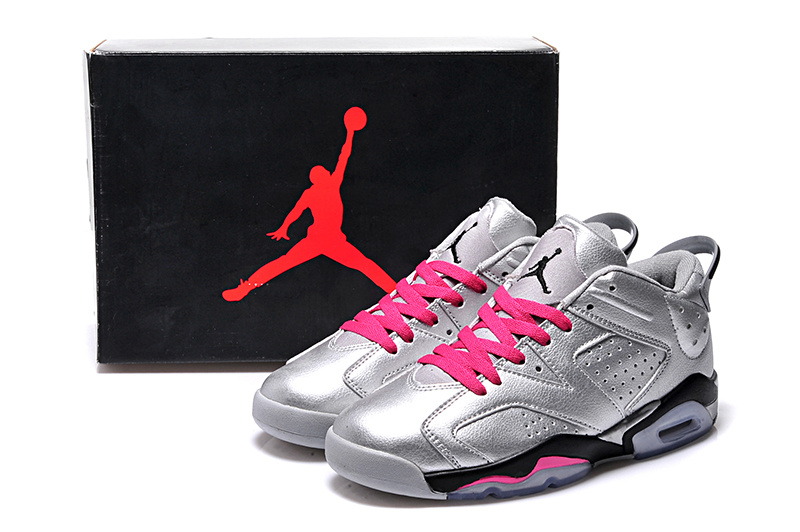 2015 Silver Pink Black Air Jordan 6 Low Shoes