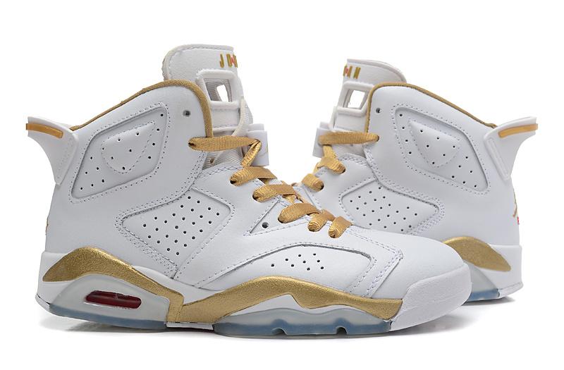 2015 Air Jordan 6 GS White Gold Shoes
