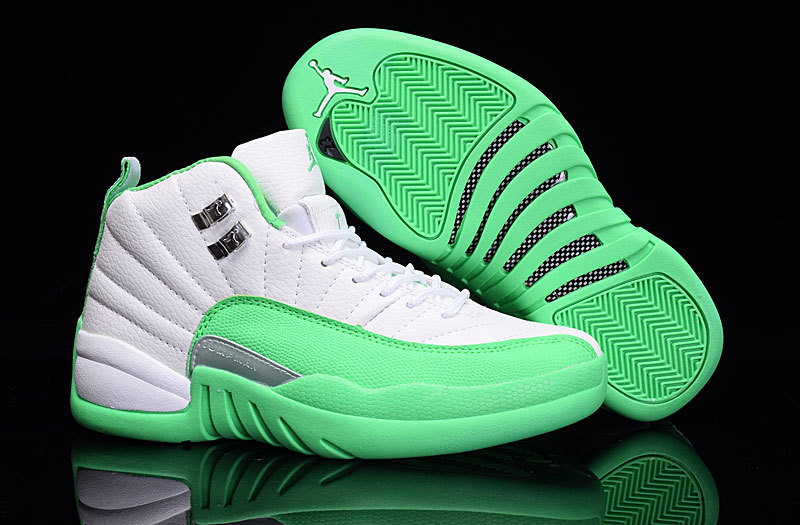 Women Air Jordan 12 White Green Shoes