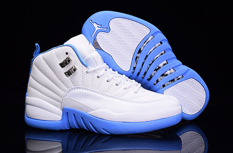 Women Air Jordan 12 White Light Blue Shoes
