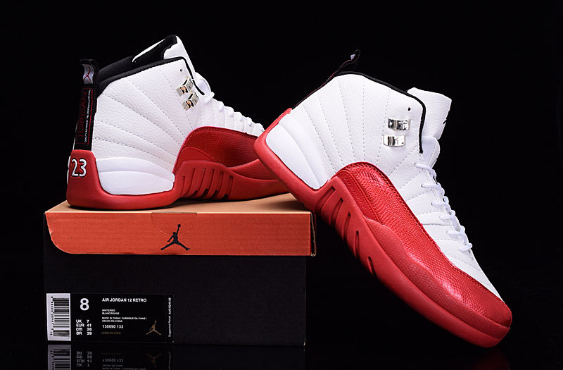 Women Air Jordan 12 White Red Shoes