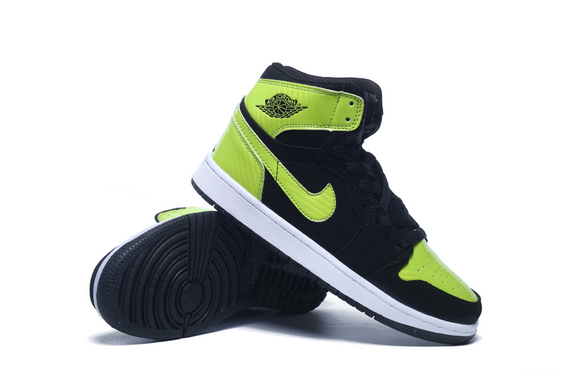New Women Air Jordan 1 Retro Black Fluorscent Green Shoes