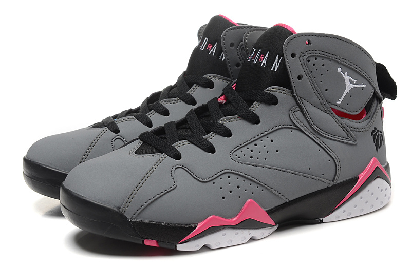2015 Womens Air Jordan 7 Grey Black Pink