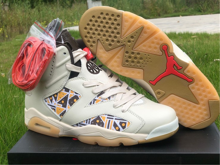 New Air jordan 6 retro quai 54 sail gum lover shoes