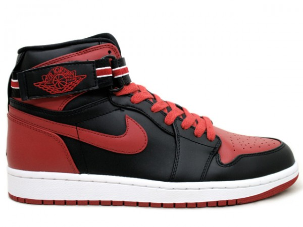 Claasic Air Jordan 1 High Strap Lack Varsity Red White Shoes