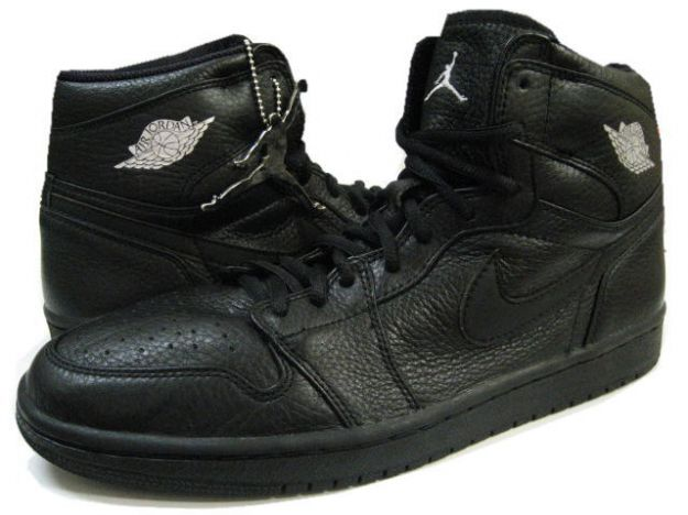 Authentic Air Jordan 1 Retro 2001 All Black Metallic Silver Shoes