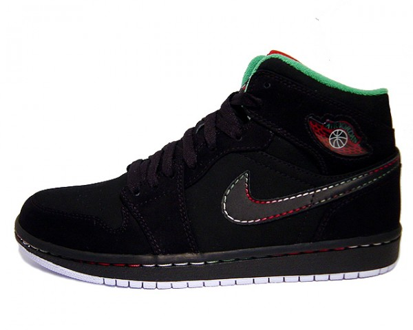 Authentic Air Jordan 1 Retro Black White Classic Green Varsity Red Shoes
