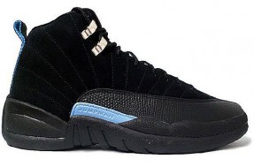 classic air jordan 12 black white university blue shoes