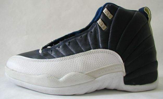 classic air jordan 12 original obsidian obsidian white french blue shoes