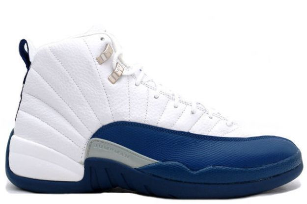 popular air jordan 12 retro white french blue metallic silver shoes