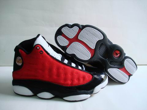 authentic air jordan 13 retro white black red shoes