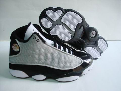 authentic air jordan 13 retro white lgrey black shoes