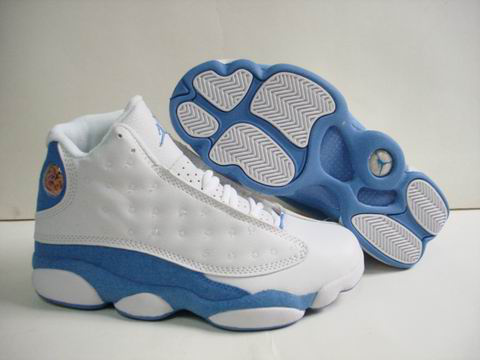 authentic air jordan 13 retro white light blue shoes
