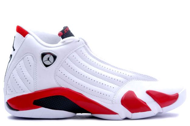 popular air jordan 14 retro white black varsity red shoes