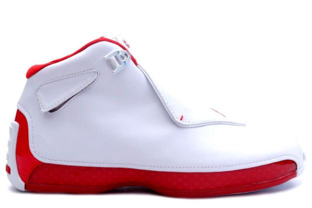 classic air jordan 18 white varsity red shoes