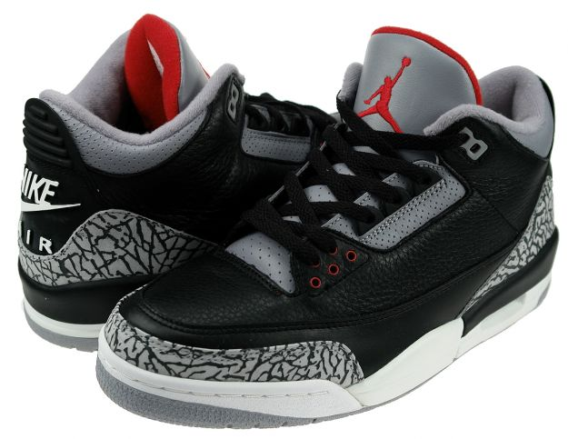 Classic Air Jordan 3 Retro Black Cement Grey Shoes