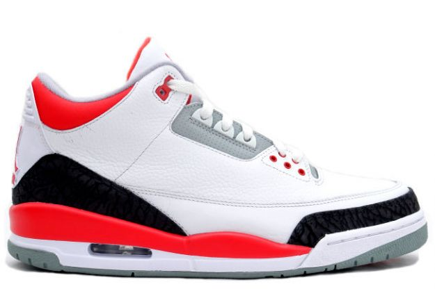 Classic Air Jordan 3 White Fire Red Cement Grey Shoes