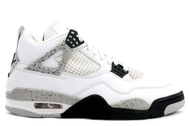 classic air jordan 4 retro 1999 white black cement shoes