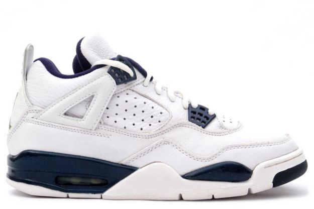 classic air jordan 4 retro 1999 white columbia blue midnight navy shoes