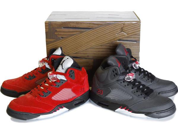 Popular Air Jordan 5 Raging Bull Pack Varsity Red Black Package On Sale
