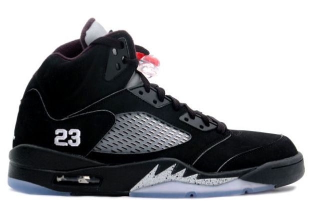 classic original air jordan 5 retro black metallic silver shoes
