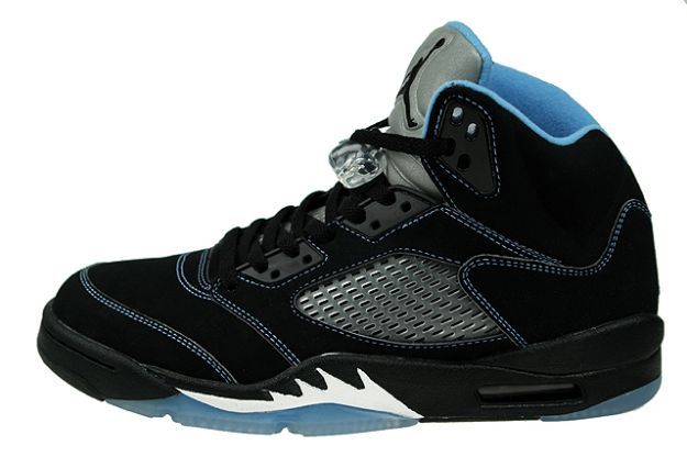 classic original air jordan 5 retro black university blue white shoes