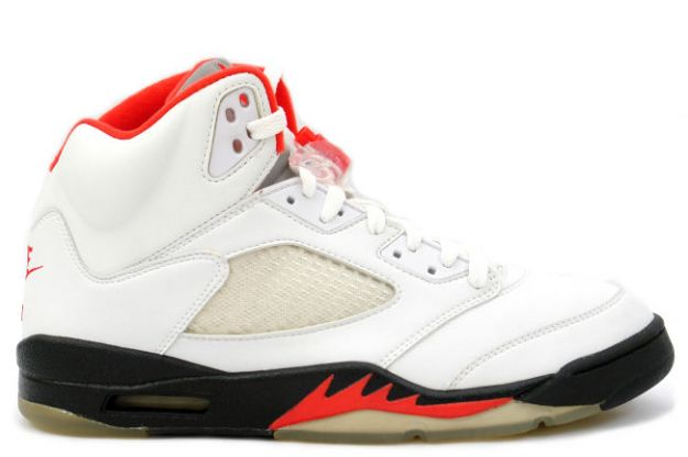 classic original air jordan 5 retro fire red white black fire red shoes