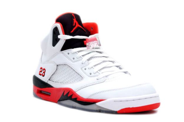 classic original air jordan 5 retro fire red white fire red black shoes