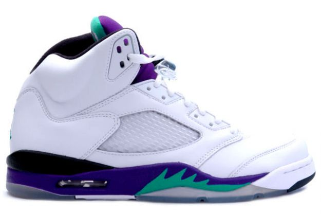 classic original air jordan 5 retro white grape ice new emerald shoes