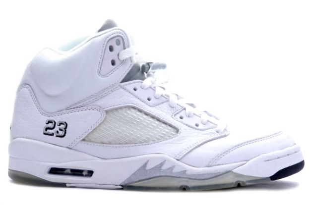 classic original air jordan 5 retro white metallic silver black shoes
