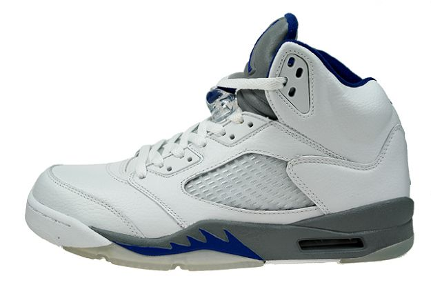 classic original air jordan 5 retro white sport royal stealth shoes