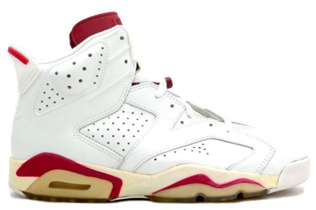 classic air jordan 6 original og off white maroon shoes