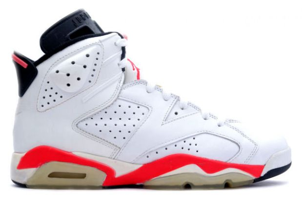 classic air jordan 6 original white infared black shoes