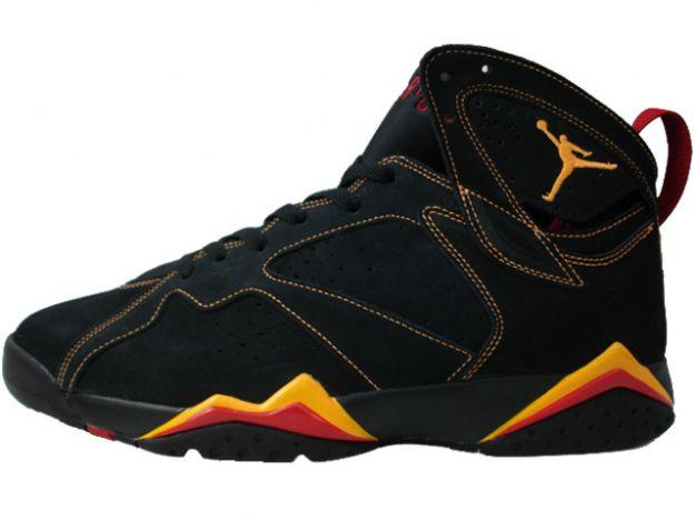 Air Jordan 7 Retro Black Citrus Varsity Red shoes