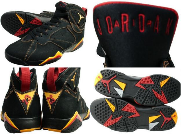 classic and popular air jordan 7 retro black citrus varsity red shoes - Click Image to Close