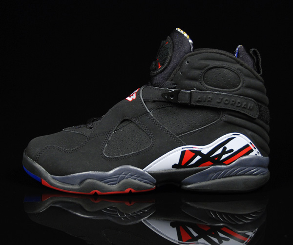 popular air jordan 8 retro playoffs black varsity red white shoes