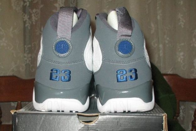classic air jordan 9 retro white french blue flint grey shoes