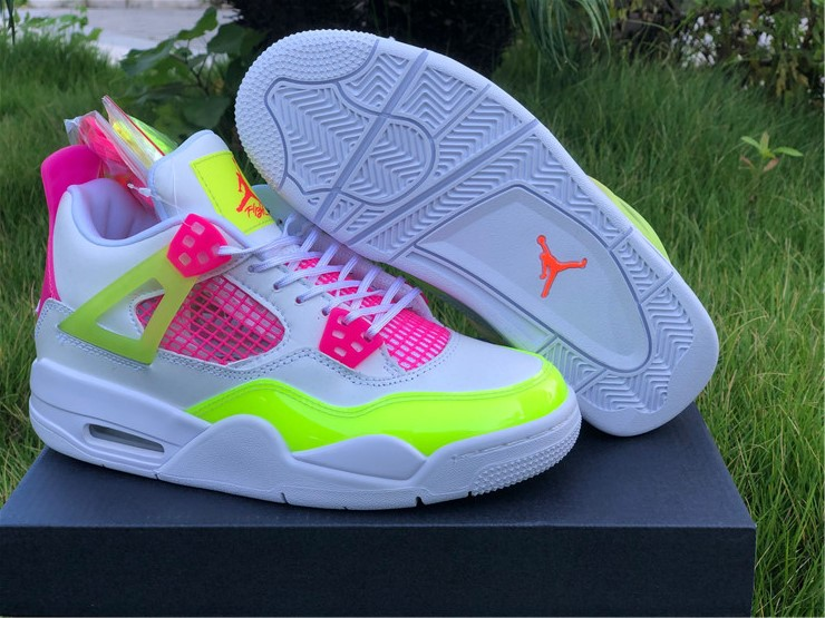 newest New Air jordan 4 retro lemon venom pink girls shoes